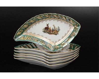 Набор салатников 21 см Queen's Crown Охота зеленая (6 шт) - фото 11008
