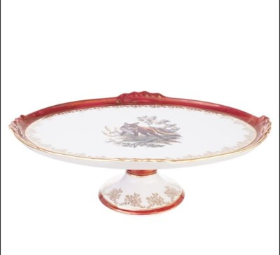 Блюдо овальное на ножке Queen's Crown Охота красная 37 см - фото 11011