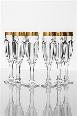 Бокалы для шампанского Сафари золотые 6 штук по 190 мл - фото 11134