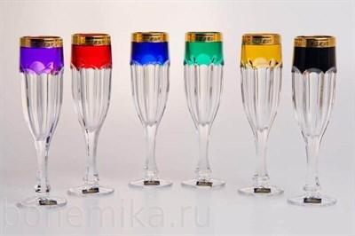 Бокалы для шампанского Сафари цветное, 6 штук по 190 мл - фото 11141