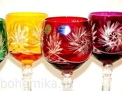Набор бокалов для вина, цветной хрусталь 280 мл - фото 11172