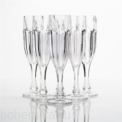 Фужеры для шампанского SAFARI без декора, 6 штук по 180 мл - фото 11183