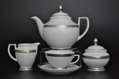 Чайный сервиз Falkenporzellan Constanza Platina 6 персон 17 предметов - фото 11233