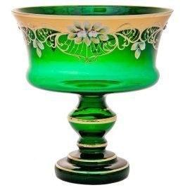 """Ваза для фруктов зеленая лепка """"Конус"""" на ножке - фото 11271"""