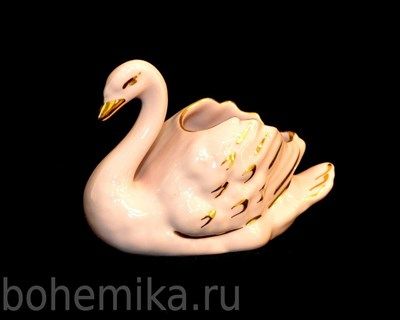 "Салфетница ""Лебедь"" розовый фарфор - фото 11358"