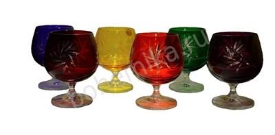Набор бокалов для бренди, цветной хрусталь (6 штук) - фото 11432
