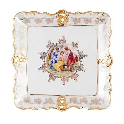 Блюдо фигурное квадратное Queen's Crown Мадонна перламутр 32 см - фото 11477