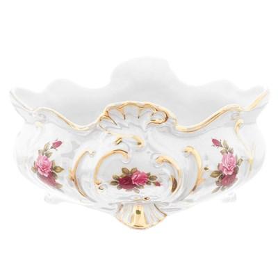 Фруктовница Ладья Queen's Crown Роза Перламутр 22см - фото 11494