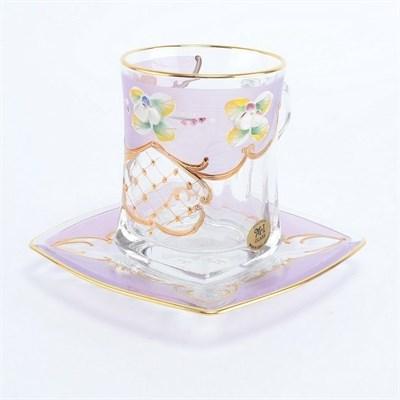 """Чайная пара """"Розовая лепка"""" богемское стекло - фото 11504"""