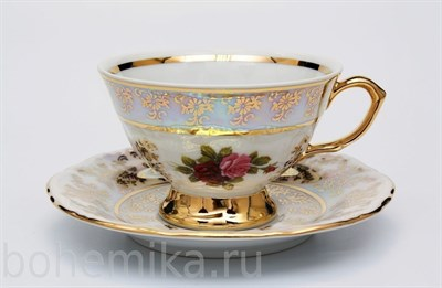 "Чайные пары ""Роза перламутровая"" (6 пар) - фото 11632"