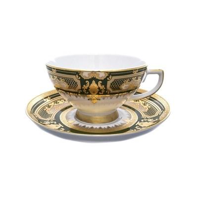 Набор чайных пар Falkenporzellan Donna Green gold(6 шт) - фото 11729