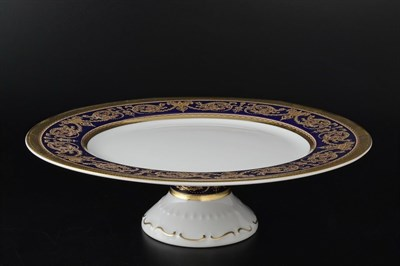 Тарелка для торта 32 см на ножке Imperial Cobalt Gold - фото 11738