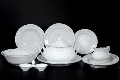Столовый сервиз на 6 персон Thun Констанция серый орнамент отводка платина 27 предметов - фото 13768