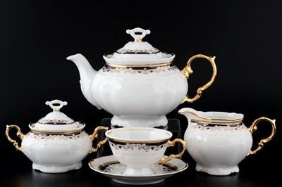 Чайный сервиз на 6 персон Thun Мария Луиза синяя лилия 17  предметов - фото 16465