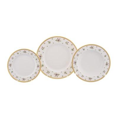 Набор тарелок 18 предметов Falkenporzellan Constanza cream - Primavera Gold - фото 25180