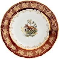 Блюдце Queen's Crown Корона Охота красная 220 мл(1шт) - фото 27694