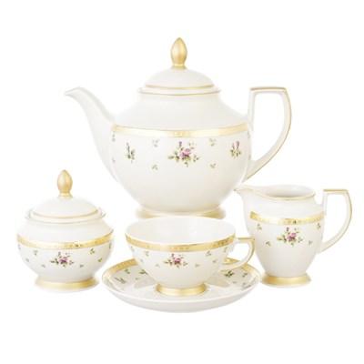 Чайный сервиз на 6 персон Falkenporzellan Constanza - Primavera Gold 15 предметов - фото 28265