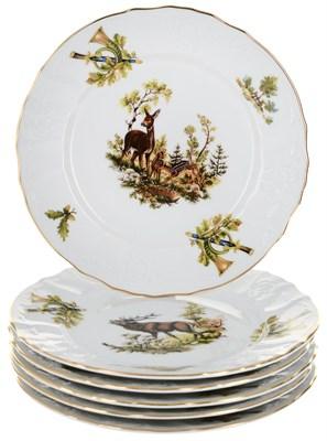 """Набор тарелок десертная 19 см 6 штук; """"Bernadotte"""", декор """"Охотничьи сюжеты"""" - фото 41487"""