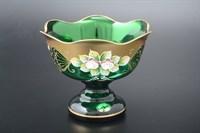 Конфетница из цветного стекла СОК (зеленая, 16 см)