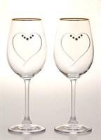"""Пара бокалов для вина """"Сердце"""", богемское стекло, 250 мл"""