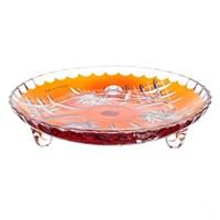 Тарелка на ножках оранжевая Цветной хрусталь18 см