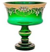 Ваза для варенья 15 см зеленая лепка