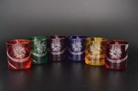 Набор стаканов для виски, цветной хрусталь (6 штук)