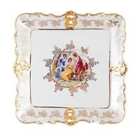 Блюдо фигурное квадратное Queen's Crown Мадонна перламутр 32 см