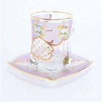 """Чайная пара """"Розовая лепка"""" богемское стекло"""