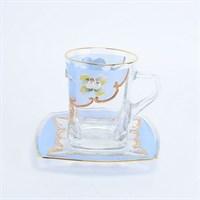 """Чайная пара """"Голубая лепка"""" богемское стекло"""