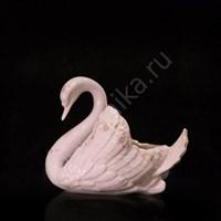 Конфетница Лебедь малый 13 см розовый фарфор