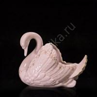 Конфетница Лебедь 17 см розовый фарфор