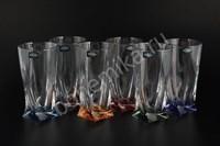 """Бокалы для сока или воды """"Квадро"""" цветное дно, 6 штук 350 мл"""