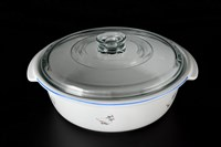 Блюдо круглое для запекания с крышкой  29 см Гуси жаропрочный фарфор