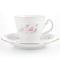 Набор чайный пар ведерка Bernadotte Серая роза золото 200 мл(6 пар)