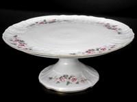 Тарелка для торта на ножке Bernadotte Серая роза золото 32 см