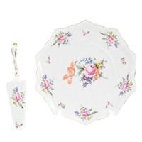 Тарелка для торта с лопаткой Queen's Crown Полевой цветок 28 см
