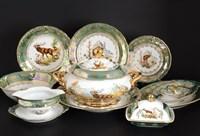 Столовый сервиз на 6 персон Queen's Crown Корона Охота зеленая 27 предметов