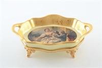Блюдо овальное на ножке глубокое Bruno Costenaro Boucher Ceramiche 25см