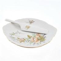 Тарелка для торта с лопаткой Bernadotte Зеленый цветок 27 см