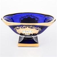 Фруктовница синяя Bohemia Gold Magma 34 см