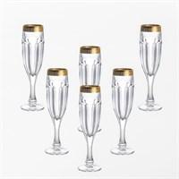 Набор фужеров для шампанского Bohemia Safari Gold 150 мл (6 штук)
