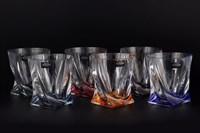 Набор стаканов для виски Crystalite Bohemia Quadro Ассорти 340 мл(6 шт)