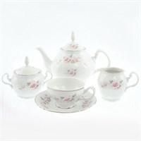 Чайный сервиз Bernadotte Серая роза платина 6 персон 17 предметов