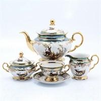 Чайный сервиз на 6 персон Queen's Crown Корона Охота зеленая 15 предметов