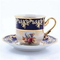 Набор кофейных пар мокко Thun Констанция Кобольт Полевой цветок 115мл (6 пар)