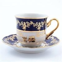 Набор кофейных пар мокко Thun Констанция Золотая роза Кобальт 115мл (6 пар)