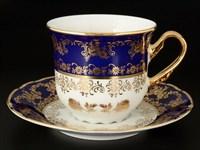Набор чайных пар Thun Констанция Золотая роза Кобальт 230мл (6 пар)