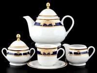 Чайный сервиз на 6 персон 17 предметов Яна Кобальтовая лента