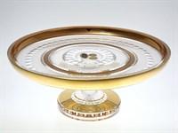 Тортница на ножке золото Bohemia Max Crystal 32 см